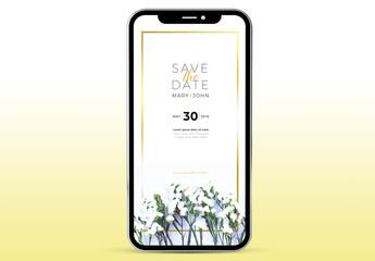 Digital Wedding Invitation Layout with Gold Border