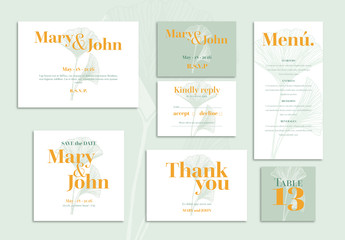 Wedding Set Layout with Gingko Leaves Illustration