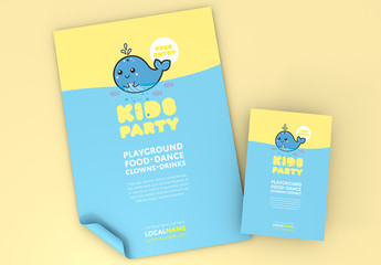 Children's Party Poster Layout with Illustrated Whale