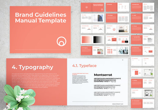 Brand Guidelines Manual Layout with Pink Elements