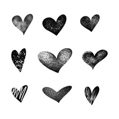 Heart doodles. Hand drawn hearts. Design elements for Valentine's day. Vector EPS 10.