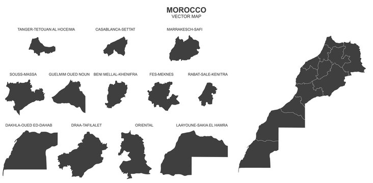 political map of Morocco isolated on white background