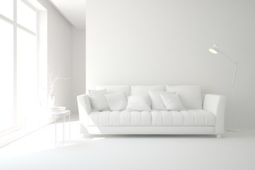 Mock up of stylish room in white color with sofa ant lamp. Scandinavian interior design. 3D illustration