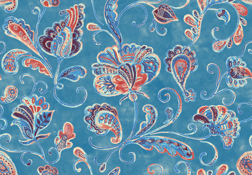 Paisley watercolor floral pattern tile:  flowers, flores, tulips, leaves. Oriental indian traditional hand painted water color whimsical seamless print antique design. Abstract india stucco background