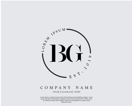 Initial letter BG beauty handwriting logo vector