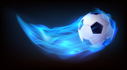 Football ball flying in blue fire, falling in flame side view isolated on black background. Sport inventory store ad, competition, tournament promotion design element. Realistic 3d vector illustration
