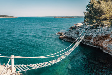 Poster Mediterraans Europa Above the rope bridge over a cliff in Punta Christo, Pula, Croatia - Europe. Travel photography, perfect for magazines and travel destination articles.
