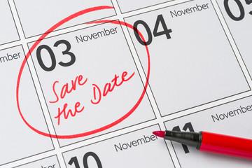 Save the Date written on a calendar - November 3