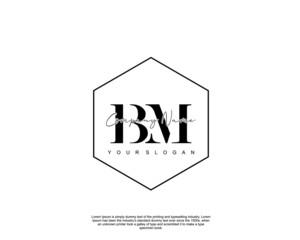 Initial letter BM beauty handwriting logo vector