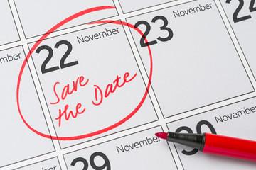 Save the Date written on a calendar - November 22