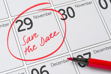 Save the Date written on a calendar - November 29