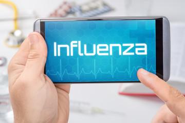 Smartphone mit dem Text Influenza auf dem Display