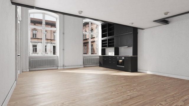 Scandinavian kitchen empty apartment interior without furniture with large wall and landscape in window. Home nordic interior. 3D illustration