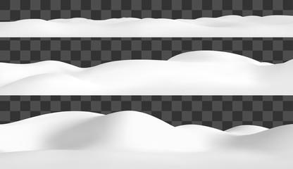 Realistic snow hills landscape. Vector snowdrift illustration. Winter background. Fotobehang