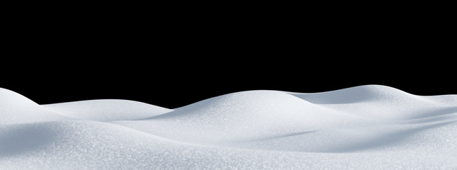 Photo sur Aluminium Noir Isolated snow hills landscape. Winter snowdrift background.