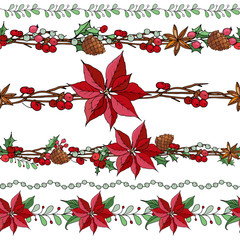 Big set with vintage Christmas decoration. Endless pattern brushes with poinsettia, branch and berries.