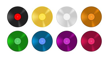 Obraz Colored vinyl record set. Old vintage music vector illustration. - fototapety do salonu