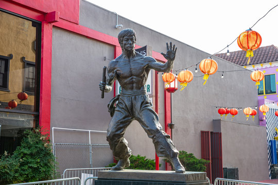 Chinatown Bruce Lee statue Los Angeles downtown, California USA.
