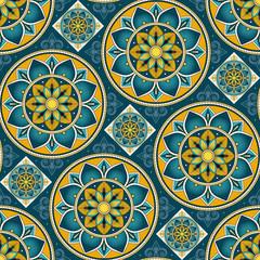 Parquet floor tile pattern vector seamless with ceramic print. Vintage mosaic motif texture. Venetian majolica background for kitchen floor or bathroom floor wall.