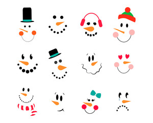 Vector Collection of Cute Snowman Faces. Vector snowman set. Funny cartoon faces with emotions and hats, heart, scarf,bow. Snowman emoticons.