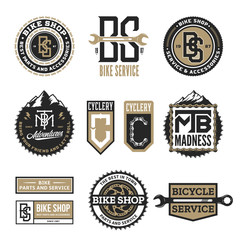 Set of vector bike shop, bicycle service, mountain biking clubs and adventures logo, badges and icons isolated on a white background
