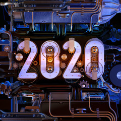 Happy New Year 2020 3D logo text design on car engine tech background. Cover of automotive business diary for 2020 new year or christmas greeting card, poster, brochure cover design template, banner