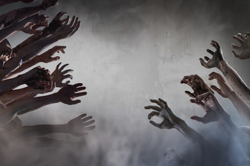 Obraz  crowd of stretched zombie hands halloween theme, render 3D - fototapety do salonu