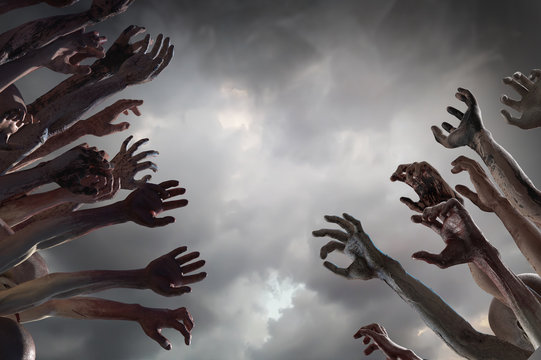 crowd of stretched zombie hands halloween theme, render 3D
