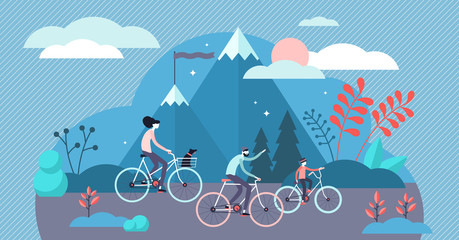 Daily life bike ride vector illustration. Tiny transport persons concept.