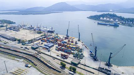 Papiers peints Brésil Aerial view of Santos city port region in Brazil.
