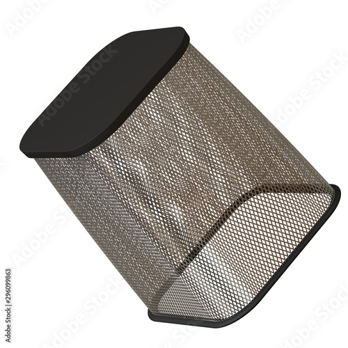Wastepaper basket on a white background, isolate  3D