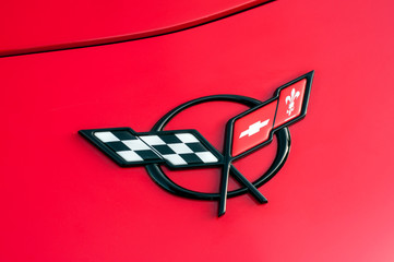 Mulhouse - France - 13 October 2019 - Closeup of logo on red Chevrolet Corvette front parked in the street