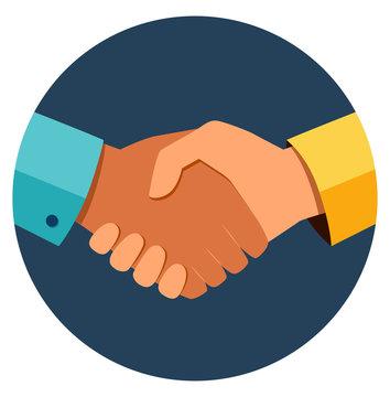 Circle business handshake icon. Handshake of business partners. Business handshake. Successful deal. Vector flat style illustration