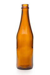 Empty brown glass bottle isolated on a white background with clipping path.