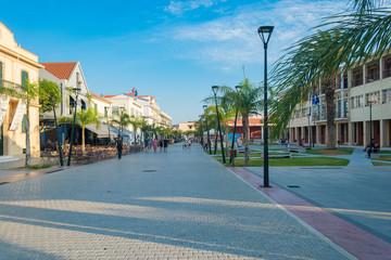 Street view of Argostoli city in Kefalonia, Greece