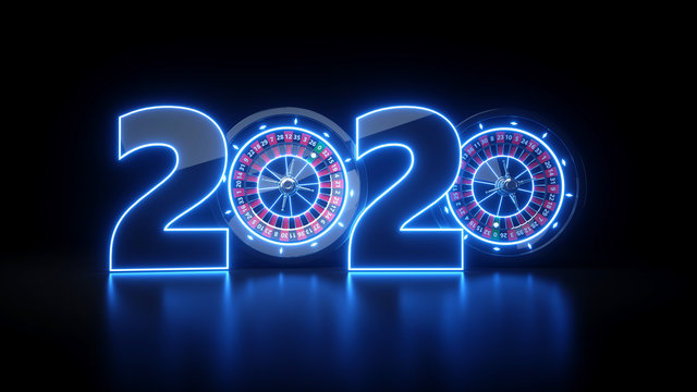Casino 2020 Year Whith Roulette Wheel - 3D Illustration