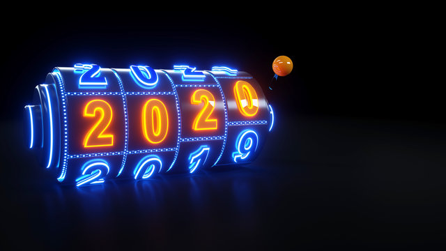 Casino Slot Machine Gambling Concept With 2020 New Year - 3D Illustration