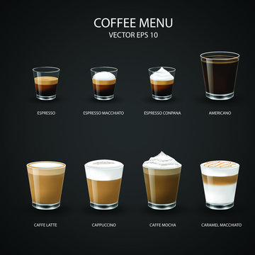 set of coffee cups, espresso glass, coffee latte, cappuccino, mocha, americano,caramel macchiato,vector design.