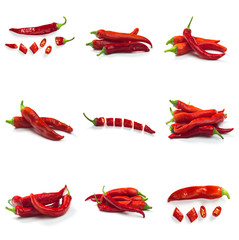 In de dag Hot chili peppers Set of Red chili pepper isolated on a white background. Healthy food. Fresh vegetables.