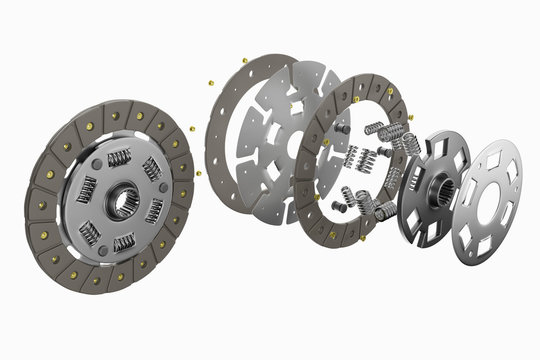 Spare parts for car and truck clutch disk. Transmission auto parts. 3d rendering