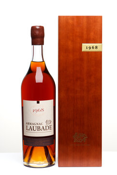 Moscow, Russia, October 12, 2019, bottle of Armagnac Laubade excerpt since 1968 on white background