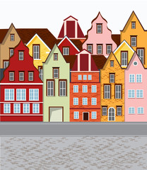 Old retro town with colorful buildings and cobblestone paved road in front. Flat cartoon vectors