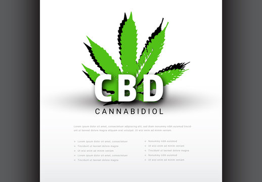 Cannabidiol Health Infographic with Illustration of Cannabis
