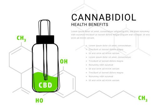Cannabidiol Oil Infographic with Molecular Formula Illustration