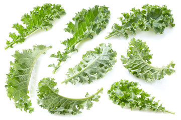 Collage of kale leaves