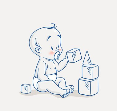 Cute little baby sitting on floor and building tower of cubes toy. Cartoon vector illustration