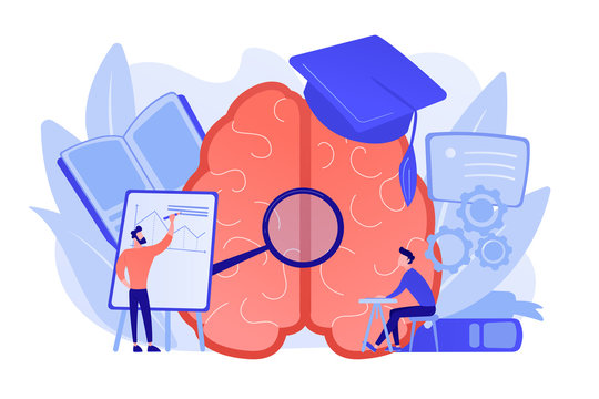 Brain with magnigier and academic cap and user learning. Learning style, learning and brain process, memory and knowledge, education and training concept. Vector isolated illustration.