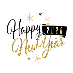 Happy new year 2020 with glitter