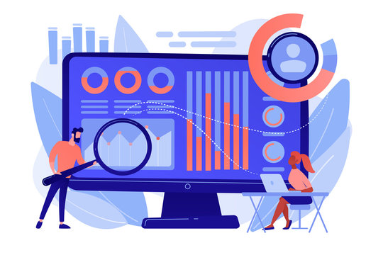 Data analyst oversees and governs income, expenses with magnifier. Financial management system, finance software, IT management tool concept. Pinkish coral bluevector isolated illustration