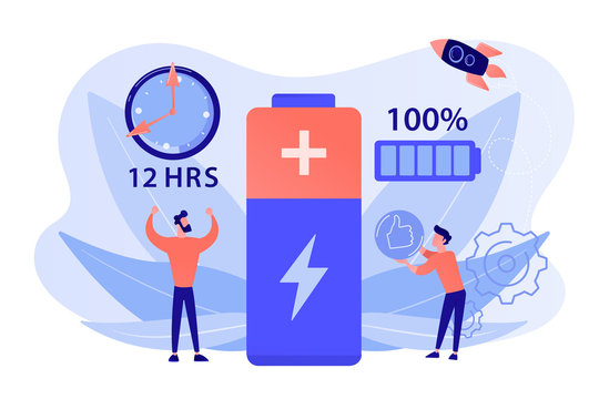 Users and battery performance and longevity with charge indicator and time. Battery runtime, extend runtime technology, long battery life concept. Pinkish coral bluevector isolated illustration